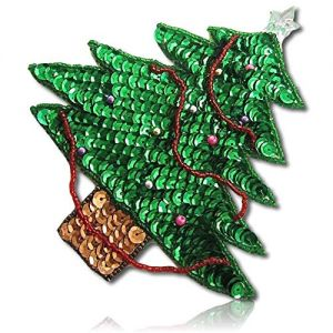 """Beautiful & Custom {5.5"""" x 5"""" Inch} 1 of [Sew-On & Glue-On] Embroidered Applique Patch Made of Beads & Sequins w/Native Yosemite Chirstmas Tree w/Nice Ornaments & Clear Crystal Star {Multicolored}"""