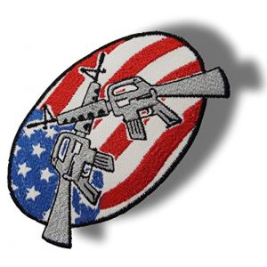 """[Single Count] Custom and Unique (4 5/8"""" Inch) Oval Old Fashioned USA """"Flag"""" Patriotic American Flag w/ Double Guns Iron On Embroidered Applique Patch {White, Red, Grey & Blue Colors}"""