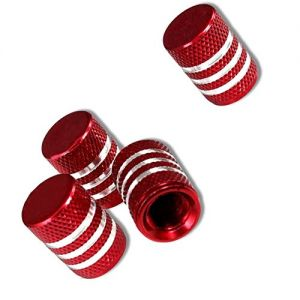 """(4 Count) """"Diamond Etching Easy Grip Texture"""" Valve Stem Dust Cap Seal Made of Genuine Anodized Aluminum Metal {Red and Silver Colors - Metal Internal Threads for Easy Application - Rust Proof}"""
