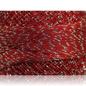 """Fabulous Crafts {2070 Total Yards / 200g} 10 Cakes Pack of Durable"""" Size 0 Lace Weight Fingering"""" Yarn for Knitting, Crochet & More, Made of 70% Polyester & 30% Lurex w/Chromed Mark {Silver & Red}"""