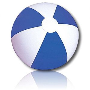 """ULTRA Durable & Custom {12"""" Inch} 12 Bulk Pack of Mid-Size Inflatable Beach Balls for Summer Fun, Made of Lightweight FLEX-Resin Plastic w/ Classic Alternating Umbrella Stripes Style {Blue & White}"""