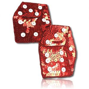 """Beautiful & Custom {6.5"""" x 4"""" Inch} 1 of [Sew-On & Glue-On] Embroidered Applique Patch Made of Beads & Sequins w/Beautiful Metallic & Glossy Light Reflective Dice Pair Duo Attached Style {Red, White}"""