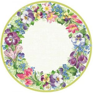 "Custom & Unique {8"" Inch} 16 Count Multi-Pack Set of Medium Round Circle Disposable Paper Plates w/Modern Garden Elegant Floral House Decor Grandma's Print ""Purple, Pink, Green & Yellow Colored"""