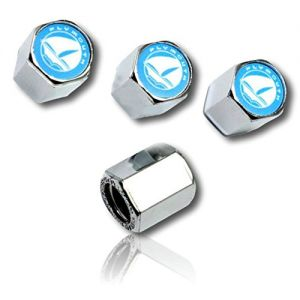 (4 Count) Cool & Custom Tire Wheel Rim Valve Stem Cap Cover Seal w/ Easy Grip Texture, Made of Hardened Rubber w/ Plymouth Logo In A Shiny Mirror Reflective Chrome Resin Style {Blue, White & Silver}