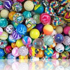 Custom & Unique {25mm} 200 Bulk Pack, Mid-Size Super High Bouncy Balls, Made of Grade A+ Rebound Rubber w/ Abstract Colorful Swirled Checkered Two Tone Stripes & Platters Pattern Style (Multicolor)