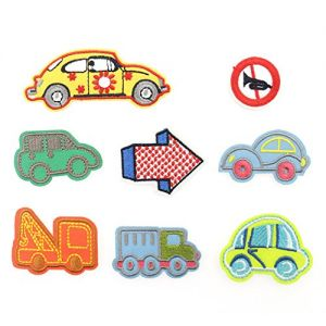Mix Cute Cartoon Embroidery Patches Set Iron On Applique Patches for Kids for Jeans,Jackets,Hats,Shoes (car set)