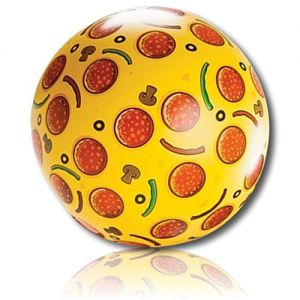 """ULTRA Durable & Custom {20"""" Inch} 1 Single Mid-Size Inflatable Beach Ball for Summer Fun, Made of Lightweight FLEX-Resin Plastic w/ Pepperoni Peppers Mushroom Cheesy Pizza Food Snack {Multicolor}"""