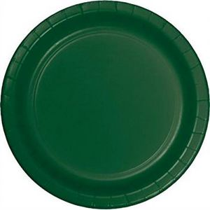 "Custom & Unique {9"" Inch} 24 Count Multi-Pack Set of Medium Size Round Circle Disposable Paper Plates w/ Single Colored Basic Festive Celebration Event ""Hunter Forest Green Colored"""