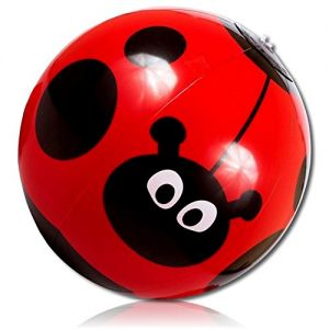 """ULTRA Durable & Custom {9"""" Inch} 4 Pack of Small-Size Inflatable Beach Balls for Summer Fun, Made of Lightweight FLEX-Resin Plastic w/ Insect Ladybug Antenna Polka Dot Leaf Flower {Red, Black & White}"""