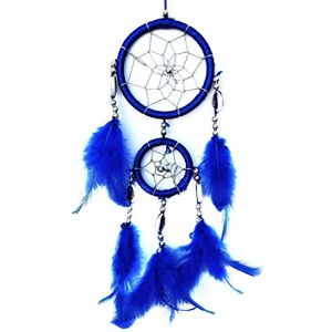 """Cool & Custom {3.5"""" x 13"""" String Hang} Single Unit of Rear View Mirror Hanging Ornament Decoration Made of String w/ Handmade Native American Dream-catcher w/ Feathers Design [Suzuki Blue Colored]"""