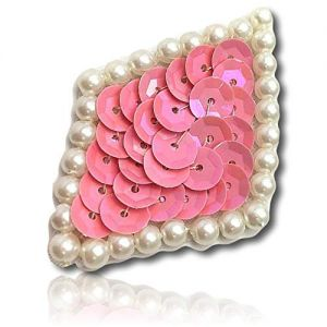 """Beautiful & Custom {2"""" Inch} 1 of [Sew-On & Glue-On] Embroidered Applique Patch Made of Sequins & Beads w/Delightful & Engaging Basic Diamond Shape w/Pretty Pearlescent Pearl Border St {Opaque Pink}"""
