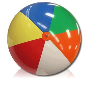 ULTRA Durable & Custom {10' Feet} 1 Single of XXLarge-Size Inflatable Beach Ball for Summer Fun, Made of Lightweight FLEX-Resin Plastic w/ Retro Thick Alternating Solid Wedge Stripe Style {Multicolor}