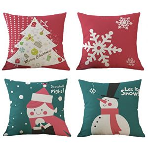BLUETTEK Christmas Pillow Covers Set of 4, Printed Snowman,Christmas Tree, Red Snowflake, Merry Christmas Decorative Throw Pillow Case Cushion Covers 18 X 18 Inch for Bed Sofa