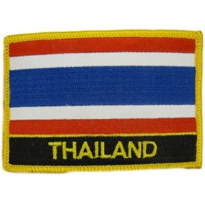 "[2 Count Set] Custom and Unique (2 1/4"" by 3 1/4"" Inches) Rectangle Travel Souvenir Thailand Flag Iron On Embroidered Applique Patch {Red, White, Blue & Gold Colors}"