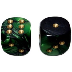 Custom & Unique {Large Size 20mm} 2 Ct Pack Set of 6 Sided [D6] Square Cube Shape Playing & Game Dice w/ Rounded Corner Edges w/ Fancy Agate Swirl Pearl Design Design [Dark Emerald Green & Gold]