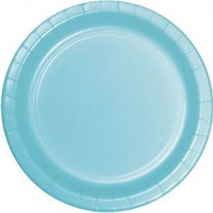 "Custom & Unique {9"" Inch} 24 Count Multi-Pack Set of Medium Size Round Circle Disposable Paper Plates w/ Magical Seasonal Winter Wonderland Pastel Color ""Light Blue Colored"""