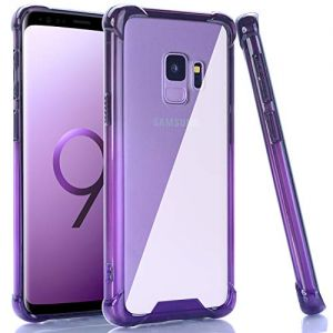 BAISRKE Galaxy S9 Case, Black Purple Gradient Shock Absorption Flexible TPU Soft Edge Bumper Anti-Scratch Rigid Slim Protective Cases Hard Plastic Back Cover for Samsung Galaxy S9