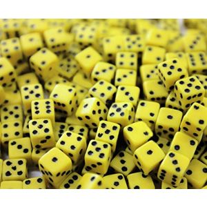 """Custom & Unique {Regular 5/8"""" 16mm} 200 Ct Wholesale Bulk Lot Pack of 6 Sided [D6] Square Cube Shape Playing & Game Dice Made of Plastic w/ Classic Bumble Bee Design [Black & Yellow Colored]"""