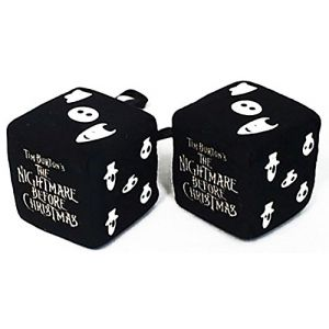 """Cool & Custom {3"""" Inch w/ String} Single Pair of """"Fuzzy, Furry & Fluffy Plush Dice"""" Rear View Mirror Hanging Ornament Decoration w/ Nightmare Before Christmas Design [BMW Black and White Colored]"""