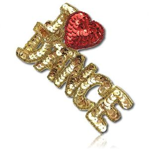 """Beautiful & Custom {4"""" x 2.5"""" Inch} 1 of [Sew-On & Glue-On] Embroidered Applique Patch Made of Beads & Sequins w/Lustrous & Shiny I Love Dance Phrase w/Cute Heart & Beaded Borders Style {Gold, Red}"""
