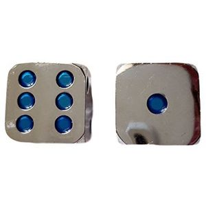 Custom & Unique {Standard Medium 16mm} 2 Ct Pack Set of 6 Sided [D6] Square Cube Shape Playing & Game Dice Made of Zinc Alloy Metal w/ Rounded Corner Edges w/ Classy Gloss Design [Silver & Blue]