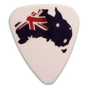 "Unique and Custom (.76 MM Thick) Medium Gauge Hard Plastic, Traditional Style""Semi Tip"" Guitar Pick w/Australian Flag on Australia Country Shape Aussie Design {White, Red & Blue - 5 Picks Multipack}"