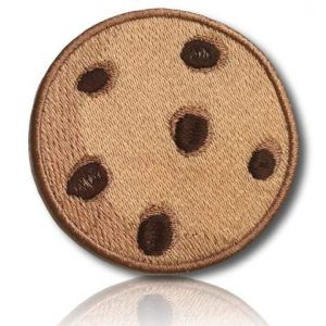"""[1 Count ] Custom and Unique (1.9"""" x 2"""" Inch) """"Dessert"""" Emoji Delicious Homemade Mouth Watering Sweet Chocolate Chip Cookie Emoticon Iron On Embroidered Applique Patch {Light Brown & Brown}"""