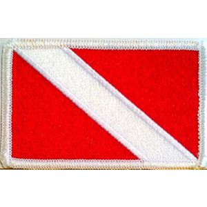 "[Single Count] Custom and Unique (3 1/2"" by 2 1/4"" Inches) Scuba Diving Diver Down Flag Iron On Embroidered Applique Patch {Red and White Colors}"