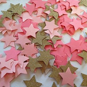 "Custom & Fancy {.63"" Inch} Approx 150 Pieces of ""Table"" Party Confetti Made of Premium Card Stock w/ Cute Girls Princess Colors Pretty Star Shape Cutout Scatter Topper Design [Pink, White & Gold]"
