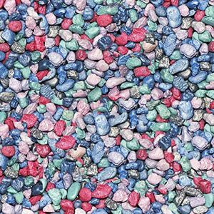 """Safe & Non-Toxic (Standard Size, 0.34"""" to 0.37"""") 25 Pound Bag of """"Acrylic Coated"""" Gravel, Rocks & Pebbles Decor for Freshwater & Saltwater Aquarium w/ Mermaid Blend Style [Blue, Green, Teal & Pink]"""