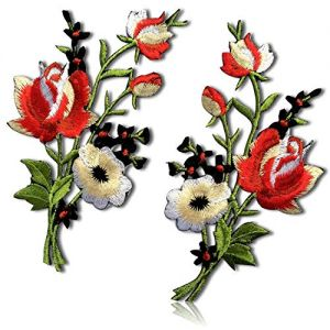 """Unique & Custom {4.3"""" x 2.3"""" Inch} 2 Pack [Glue-On, Iron-On & Sew-On] Embroidered Applique Patch Made of Natural Cotton w/Garden Colorful Rose Stem Petals Vine {Black, Red & Green} + Certificate"""