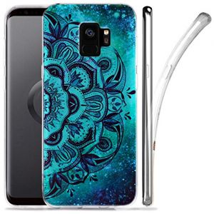 Galaxy S9 Case, ZUSLAB Nebula Pattern Design, Slim Flexible Shockproof TPU, Soft Rubber Silicone Glossy Skin Cover for Samsung Galaxy S9, 2018 (Blue mandala)