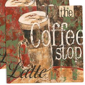 """Unique & Custom {15"""" x 15"""" Inch} Set Pack of 4 Square """"Non-Slip Grip Texture"""" Large Table Placemats Made of Vinyl w/Foam Back & The Coffee Stop Latte Cafe Design [Colorful Brown, Red & Green]"""