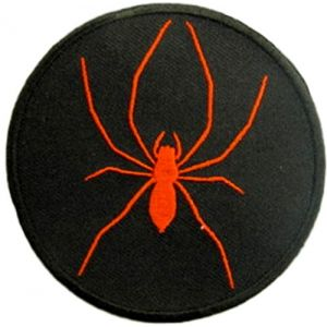 "[Single Count] Custom and Unique (3"" Inches) Round Biker Patch Creepy Hardcore 8 Legged Insect Spider Iron On Embroidered Applique Patch {Red & Black Colors}"