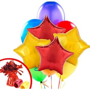 "Custom, Fun & Cool {Big Large 11""-18"" Inch} 10 Pack of Helium & Air Inflatable Mylar/Latex Balloons w/ Clasic Vintage Circus Stars Design [in Red, Purple, Blue & Gold] w/ Ribbon & Weight"