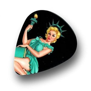 Unique and Custom (.76 MM Thick) Medium Gauge Hard Plastic, Traditional Style Semi Tip Guitar Pick w/Vintage Pin Up American Lady Liberty Design {Assorted Colors - 12 Picks Dozen Bulk Multipack}