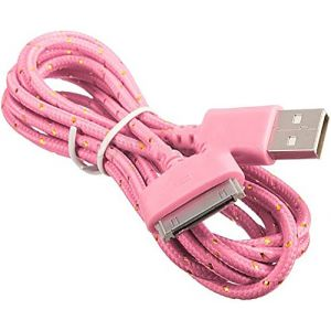 mySimple [6' Feet - Single Pack] of 30 Pin to USB 2.0 Data Sync Chargers w/Tangle Free Braided Woven Rope Outer Jacket Made of Nylon Fabric w/Girly Fun Design for Apple iPads, iPods & iPhones {Pink}