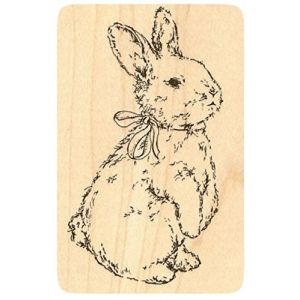 "{Single Count} Unique & Custom (2"" by 3"" Inches) ""Easter Bunny With Bow"" Rectangle Shaped Genuine Wood Mounted Rubber Inking Stamp"