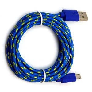 mySimple [1.5' Feet - 2 Pack] of Micro USB 2.0 Data Sync Charger Cable w/Tangle Free Braided Woven Rope Outer Jacket Made of Nylon Fabric w/Design for Tablets & Phones {Blue & Yellow Colors