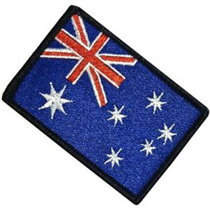 """[Single Count] Custom, Cool & Awesome {1.9"""" x 3.9"""" Inches} Small Rectangle Bordered Australian Flag Aussie Union Jack & Stars Emblem Design (Military Type) Velcro Patch """"Black, Blue, Red & White"""""""