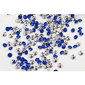 Custom & Fancy {4.5mm} Approx 2,000 Small Round Circles of Table Decorating Wedding Party Confetti Made of Faux Acrylic w/ Crystal Clear Diamond Gem Jewel Design [Translucent Royal Blue]