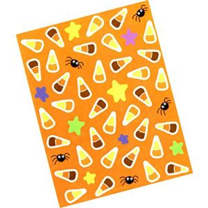 """Custom & Decorative {.25"""" Inch} 180 Wholesale Pack of Mid-Size Stickers for Arts, Crafts & Scrapbooking w/ Cartoon Halloween Candy Corn Spooky Spider Neon Stars {Orange, Yellow, Black & White}"""