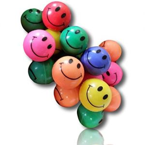 Custom & Unique {27 mm} 25 Pack, Mid-Size Super High Bouncy Balls, Made of Grade A+ Rebound Rubber w/ Bright Classic Vintage Retro Happy Smiling faces Shiny Gloss Sheen Grinning Amused (Multicolor)