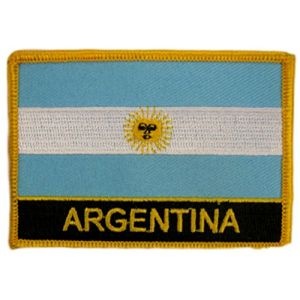 "[Single Count] Custom and Unique (2 1/4"" by 3 1/4"" Inches) Rectangle Travel Souvenir Argentina Flag Iron On Embroidered Applique Patch {Blue, Yellow Black & White Colors}"