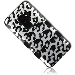 mySimple 3 Piece SECURE-Fit Rubberized Gel Hybrid Case w/2 Layered SHOCKPROOF Protection for SAMSUNG GALAXY S9 PLUS G965 w/Sure Grip Texture Feminine Cloud Leopard Monotone Inked Design {Multicolor}