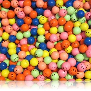 Custom & Unique {27mm} 100 Bulk Pack, Mid-Size Super High Bouncy Balls, Made of Grade A+ Rebound Rubber w/ Bright Neon Abstract Rainbow Colorful Happy Smiling Expression Emoji Face Style (Multicolor)