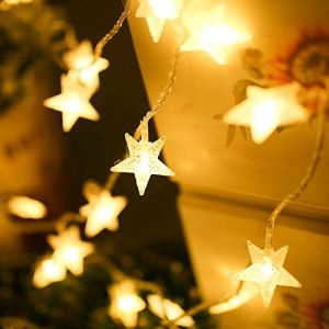 AQV Led String Light, 16.4ft Star String Lights Warm White Fairy Lights Battery Operated Waterproof Outdoor/Indoor DIY Decoration Christmas Party, Wedding, Garden