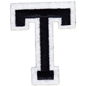 """[Single Count] Custom and Unique (2"""" Inches) American Alphabet Letters Cool College Varsity Letterman Capital Letter T Iron On Embroidered Applique Patch {Black & White Color}"""