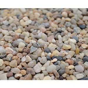 "Safe & Non-Toxic {Small Size, 0.11"" to 0.19"" Inch} 10 Pound Bag of Gravel & Pebbles Decor for Freshwater & Saltwater Aquarium w/ Simple Iridescent Natural Sleek Earthy Style [Black, Brown & Tan]"