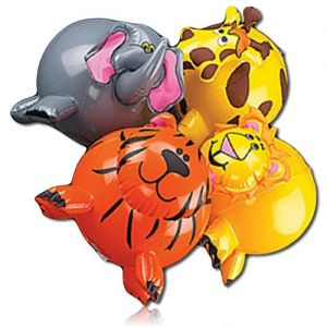 """ULTRA Durable & Custom {14"""" Inch} 4 Pack of Mid-Size Inflatable Beach Balls for Summer Fun, Made of Lightweight FLEX-Resin Plastic w/ African Safari Animals Giraffe, Elephant, Tiger, Lion {Multicolor}"""